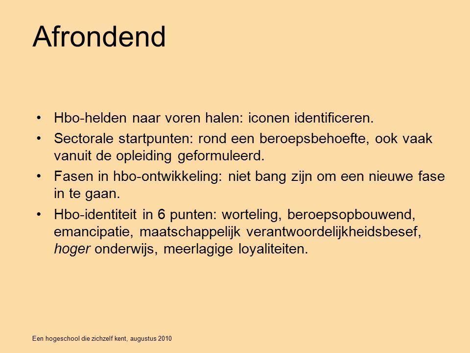 Een hogeschool die zichzelf kent, augustus 2010 Afrondend Hbo-helden naar voren halen: iconen identificeren.