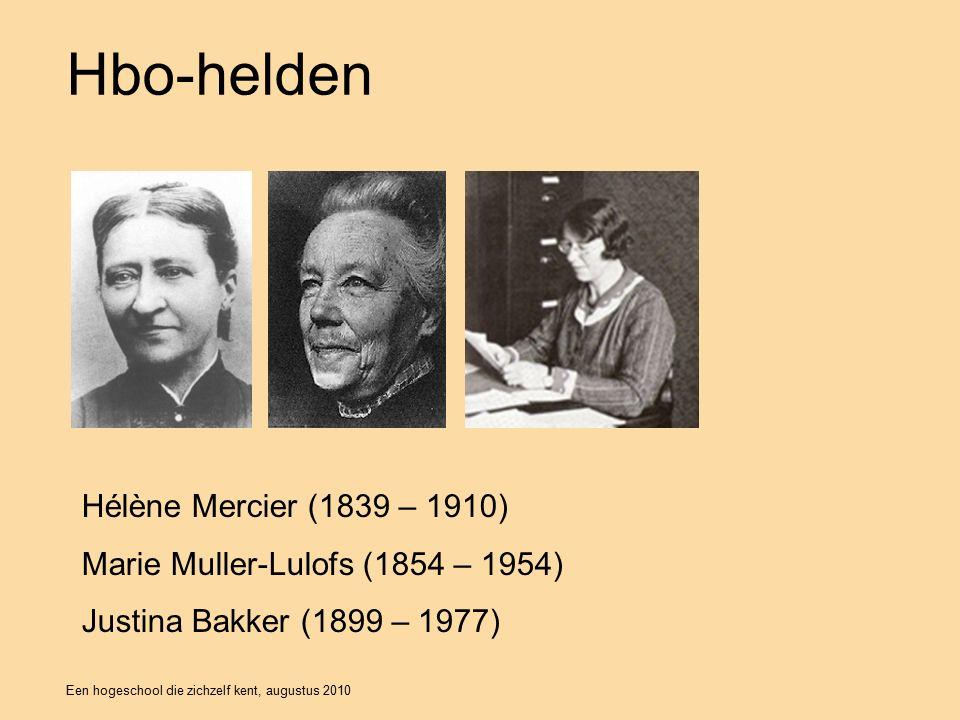 Een hogeschool die zichzelf kent, augustus 2010 Hbo-helden Hélène Mercier (1839 – 1910) Marie Muller-Lulofs (1854 – 1954) Justina Bakker (1899 – 1977)