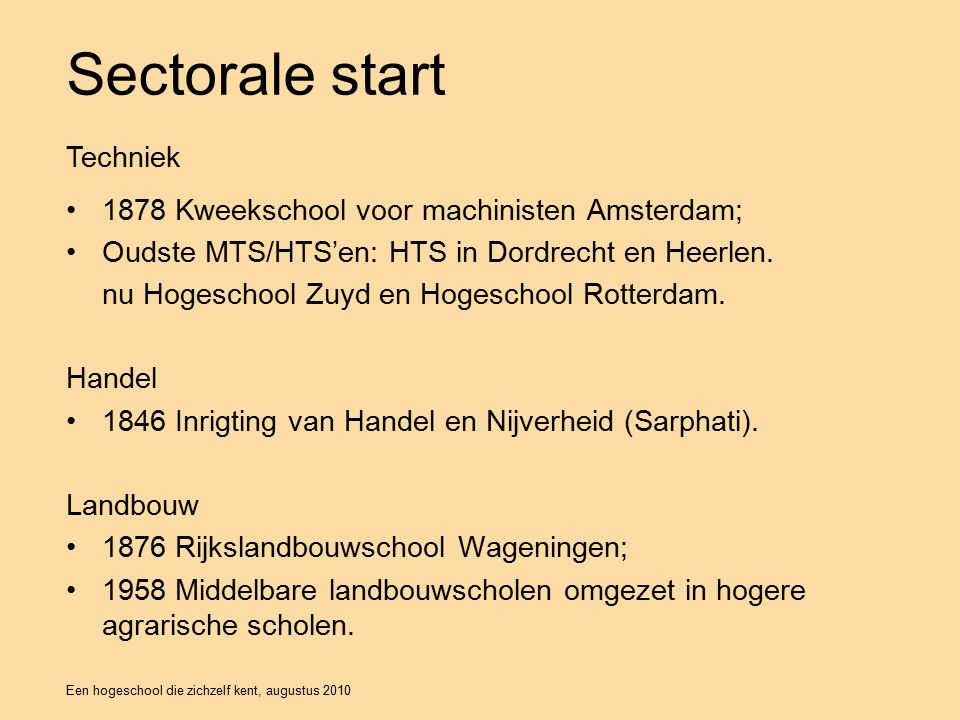Een hogeschool die zichzelf kent, augustus 2010 Sectorale start 1878 Kweekschool voor machinisten Amsterdam; Oudste MTS/HTS'en: HTS in Dordrecht en Heerlen.