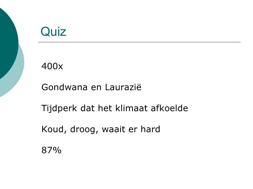 Quiz 400x Gondwana en Laurazië Tijdperk dat het klimaat afkoelde Koud, droog, waait er hard 87%