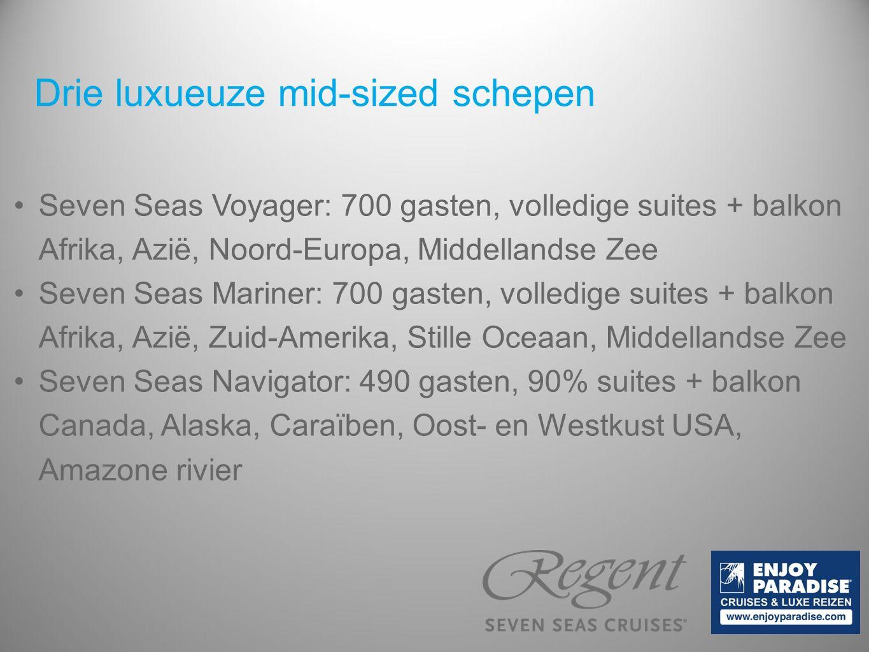 Drie luxueuze mid-sized schepen Seven Seas Voyager: 700 gasten, volledige suites + balkon Afrika, Azië, Noord-Europa, Middellandse Zee Seven Seas Mari