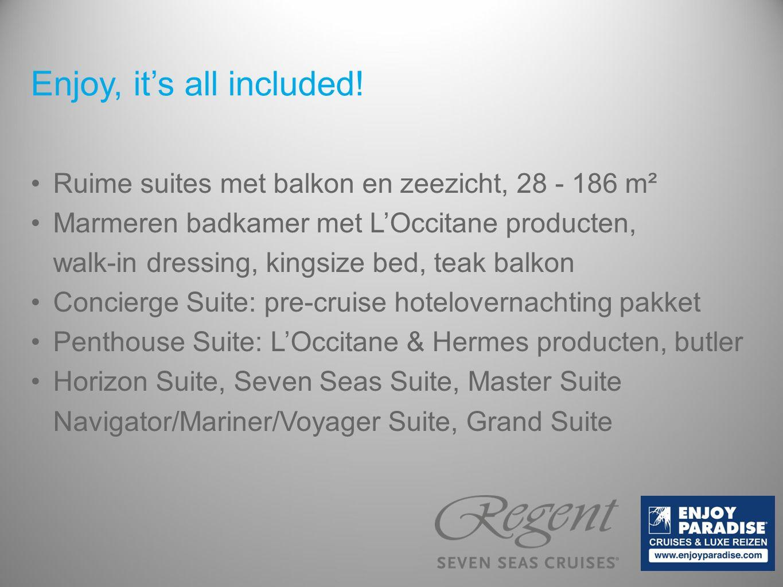Ruime suites met balkon en zeezicht, 28 - 186 m² Marmeren badkamer met L'Occitane producten, walk-in dressing, kingsize bed, teak balkon Concierge Sui