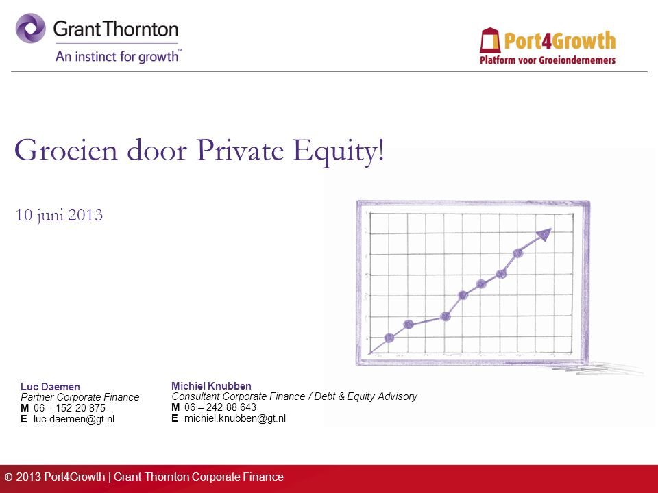 © 2013 Port4Growth | Grant Thornton Corporate Finance Groeien door Private Equity.