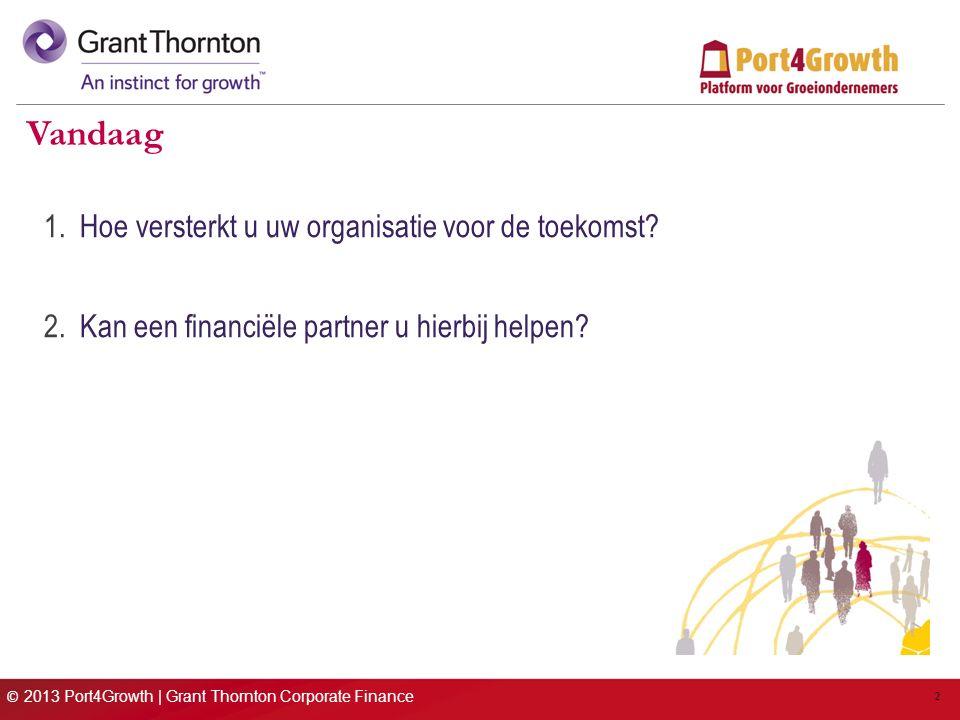 © 2013 Port4Growth | Grant Thornton Corporate Finance 2 Vandaag 1.Hoe versterkt u uw organisatie voor de toekomst.