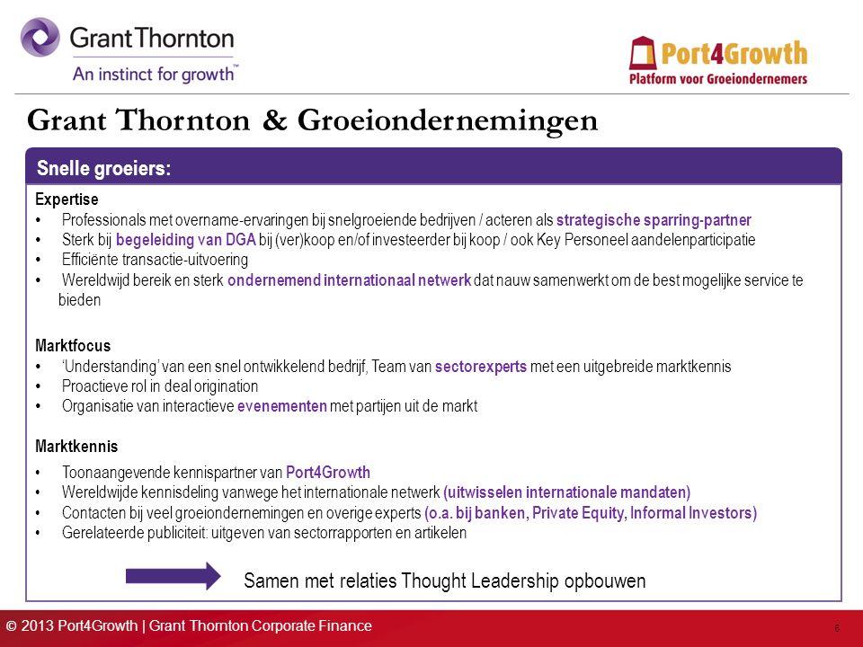 © 2013 Port4Growth | Grant Thornton Corporate Finance 6 Grant Thornton & Groeiondernemingen Snelle groeiers: Expertise Professionals met overname-ervaringen bij snelgroeiende bedrijven / acteren als strategische sparring-partner Sterk bij begeleiding van DGA bij (ver)koop en/of investeerder bij koop / ook Key Personeel aandelenparticipatie Efficiënte transactie-uitvoering Wereldwijd bereik en sterk ondernemend internationaal netwerk dat nauw samenwerkt om de best mogelijke service te bieden Marktfocus 'Understanding' van een snel ontwikkelend bedrijf, Team van sectorexperts met een uitgebreide marktkennis Proactieve rol in deal origination Organisatie van interactieve evenementen met partijen uit de markt Marktkennis Toonaangevende kennispartner van Port4Growth Wereldwijde kennisdeling vanwege het internationale netwerk (uitwisselen internationale mandaten) Contacten bij veel groeiondernemingen en overige experts (o.a.