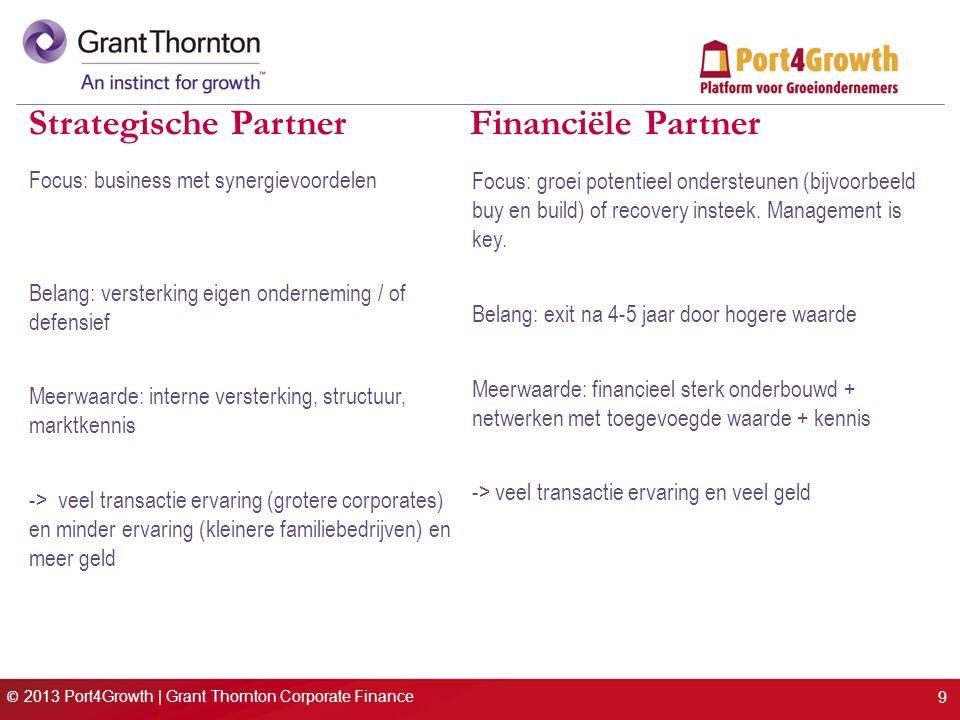 © 2013 Port4Growth | Grant Thornton Corporate Finance Strategische Partner Financiële Partner 9 Focus: business met synergievoordelen Belang: versterking eigen onderneming / of defensief Meerwaarde: interne versterking, structuur, marktkennis -> veel transactie ervaring (grotere corporates) en minder ervaring (kleinere familiebedrijven) en meer geld Focus: groei potentieel ondersteunen (bijvoorbeeld buy en build) of recovery insteek.