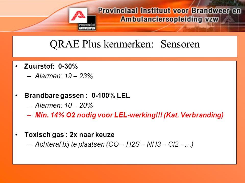 QRAE Plus kenmerken: Sensoren Zuurstof: 0-30% –Alarmen: 19 – 23% Brandbare gassen : 0-100% LEL –Alarmen: 10 – 20% –Min. 14% O2 nodig voor LEL-werking!