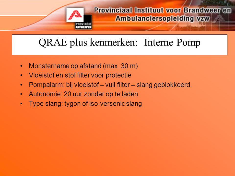 QRAE plus kenmerken: Interne Pomp Monstername op afstand (max.