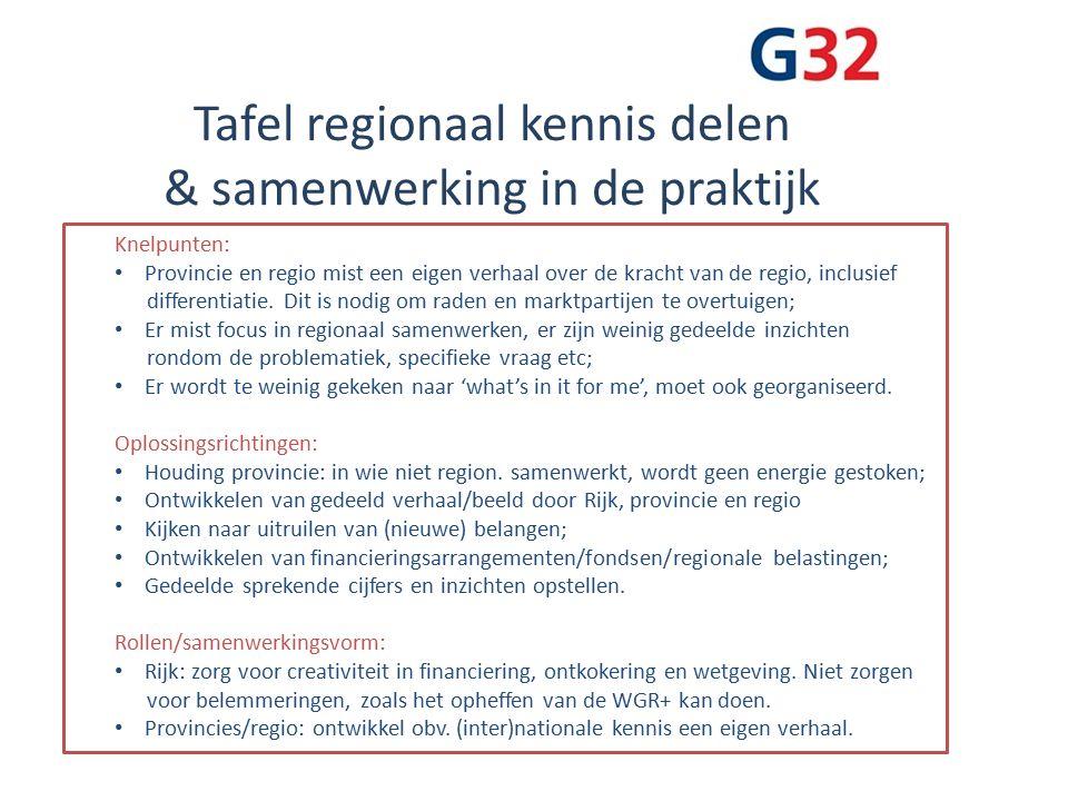 Tafel regionaal kennis delen & samenwerking in de praktijk Knelpunten: Provincie en regio mist een eigen verhaal over de kracht van de regio, inclusief differentiatie.