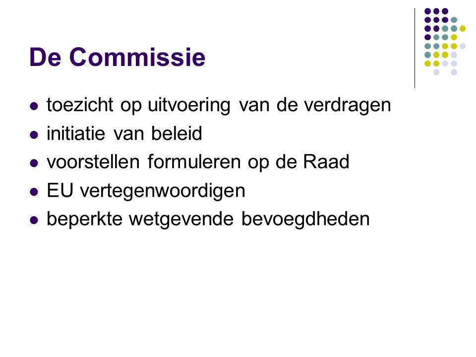 De Commissie toezicht op uitvoering van de verdragen initiatie van beleid voorstellen formuleren op de Raad EU vertegenwoordigen beperkte wetgevende bevoegdheden