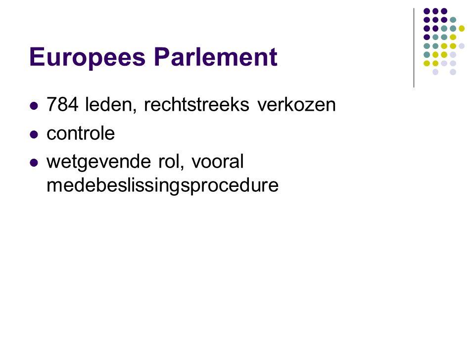 Europees Parlement 784 leden, rechtstreeks verkozen controle wetgevende rol, vooral medebeslissingsprocedure