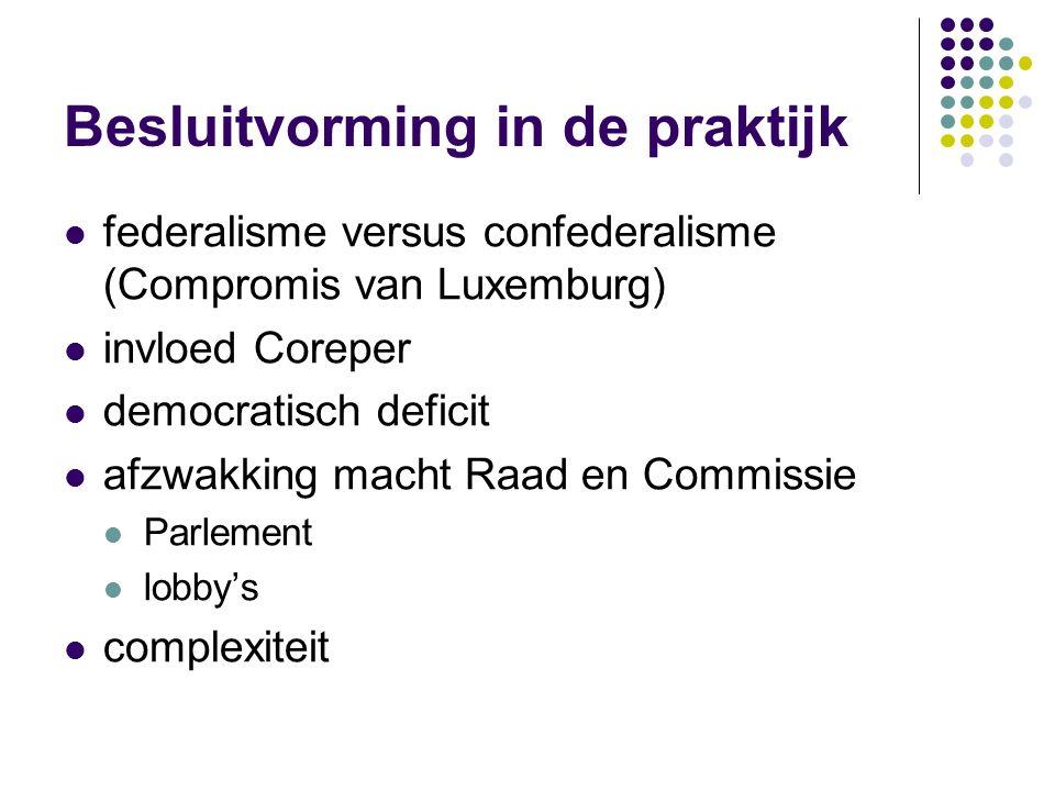 Besluitvorming in de praktijk federalisme versus confederalisme (Compromis van Luxemburg) invloed Coreper democratisch deficit afzwakking macht Raad en Commissie Parlement lobby's complexiteit