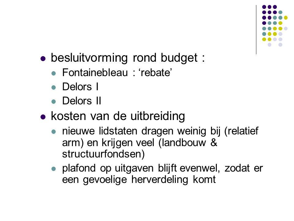 besluitvorming rond budget : Fontainebleau : 'rebate' Delors I Delors II kosten van de uitbreiding nieuwe lidstaten dragen weinig bij (relatief arm) en krijgen veel (landbouw & structuurfondsen) plafond op uitgaven blijft evenwel, zodat er een gevoelige herverdeling komt