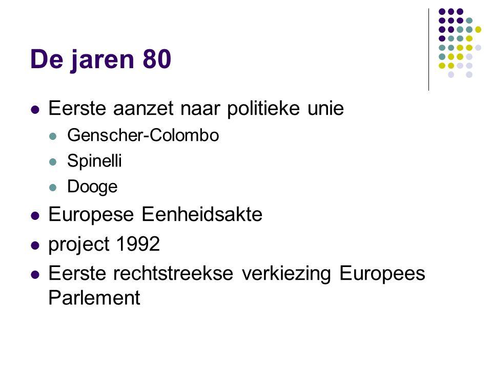 De jaren 80 Eerste aanzet naar politieke unie Genscher-Colombo Spinelli Dooge Europese Eenheidsakte project 1992 Eerste rechtstreekse verkiezing Europees Parlement