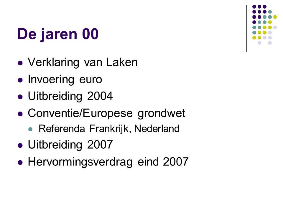 De jaren 00 Verklaring van Laken Invoering euro Uitbreiding 2004 Conventie/Europese grondwet Referenda Frankrijk, Nederland Uitbreiding 2007 Hervormingsverdrag eind 2007