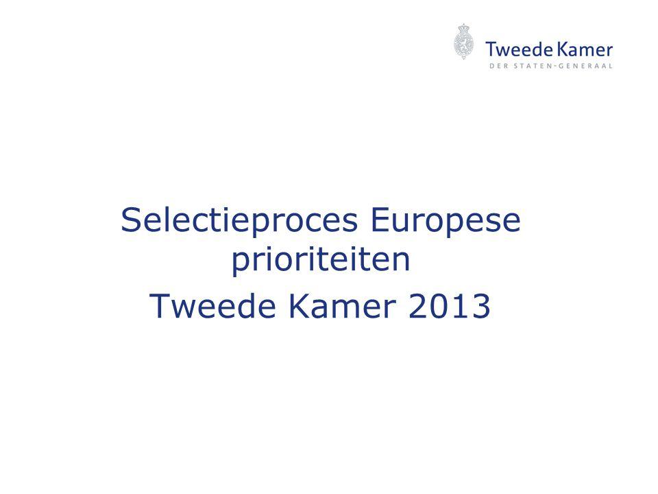 Selectieproces Europese prioriteiten Tweede Kamer 2013