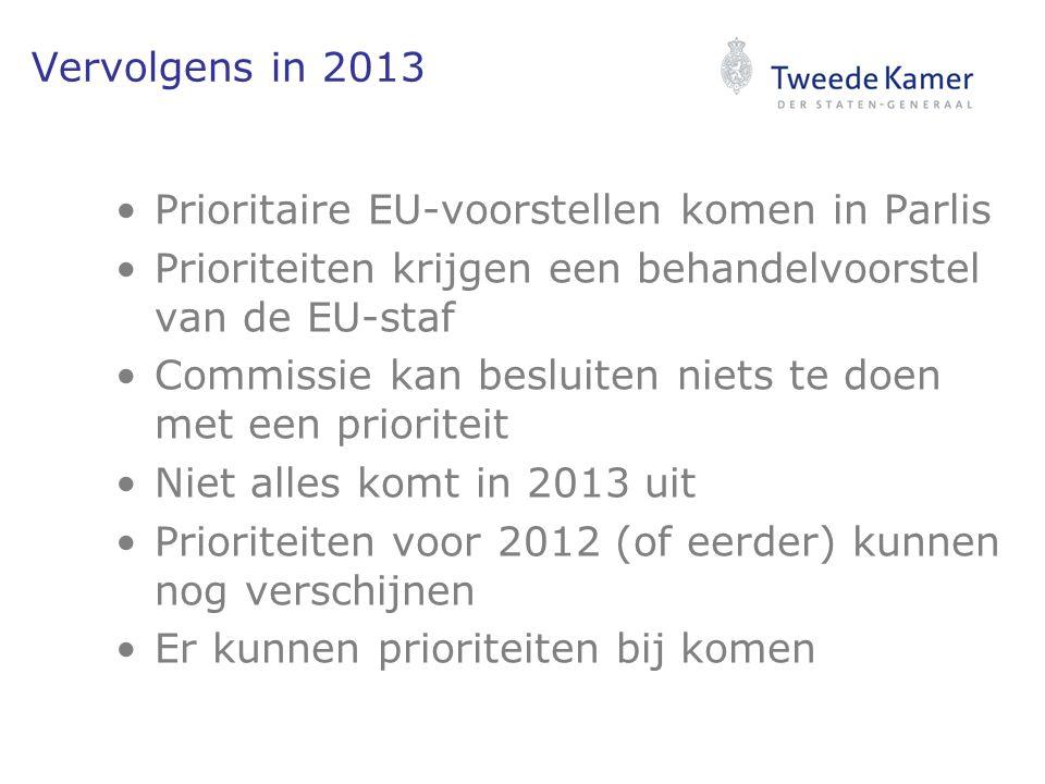 Vervolgens in 2013 Prioritaire EU-voorstellen komen in Parlis Prioriteiten krijgen een behandelvoorstel van de EU-staf Commissie kan besluiten niets te doen met een prioriteit Niet alles komt in 2013 uit Prioriteiten voor 2012 (of eerder) kunnen nog verschijnen Er kunnen prioriteiten bij komen