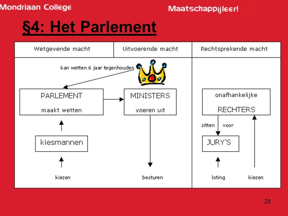 26 §4: Het Parlement