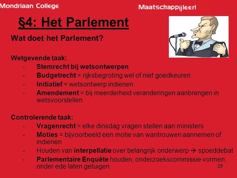 29 Wat doet het Parlement.
