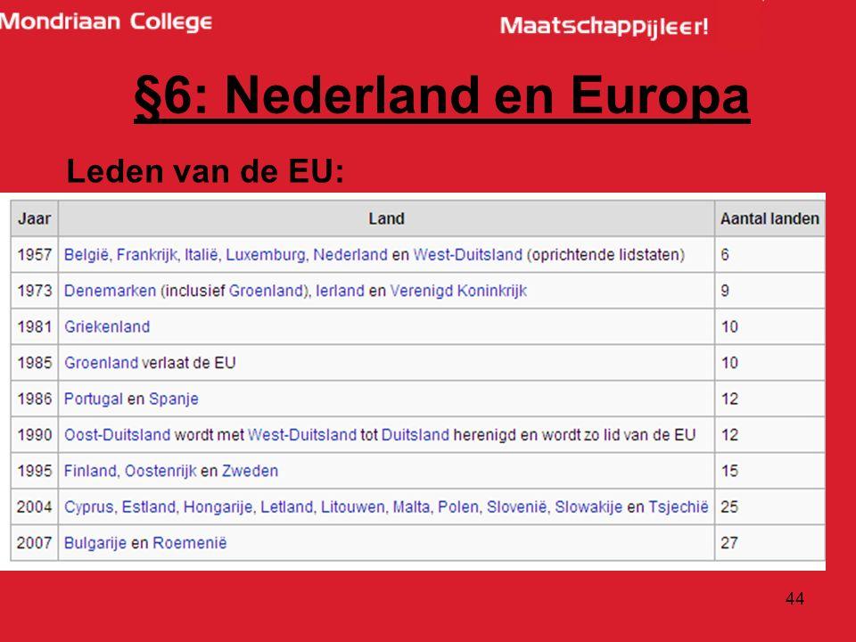 44 Leden van de EU: §6: Nederland en Europa