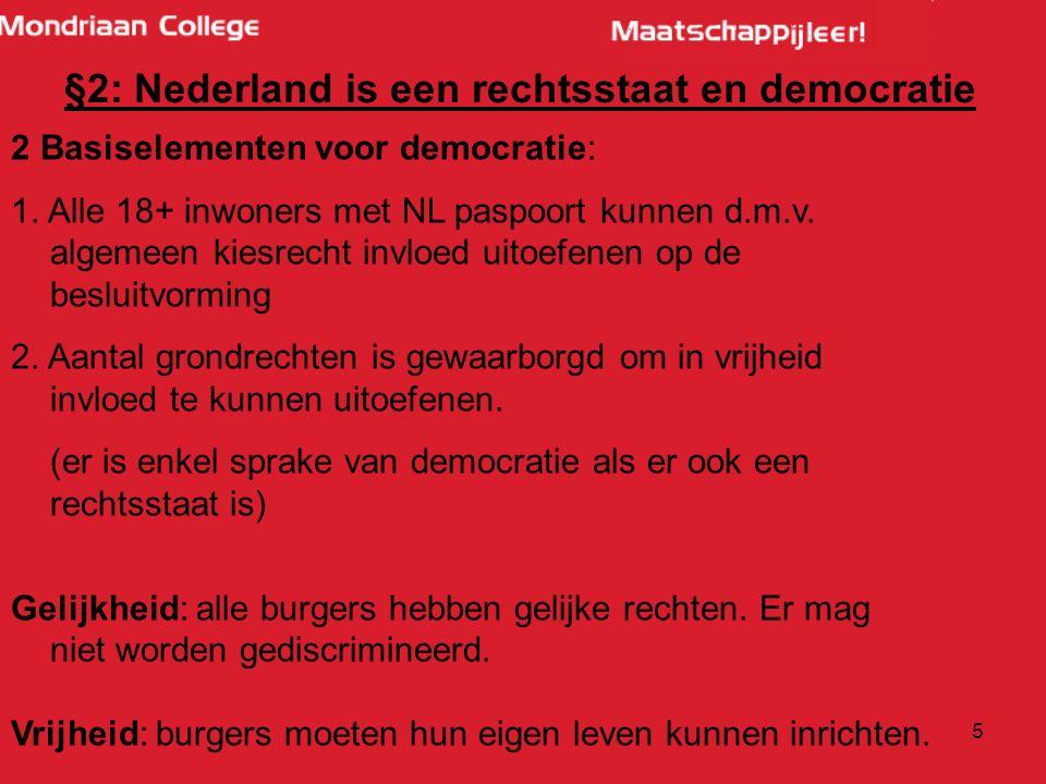 5 2 Basiselementen voor democratie: 1. Alle 18+ inwoners met NL paspoort kunnen d.m.v.