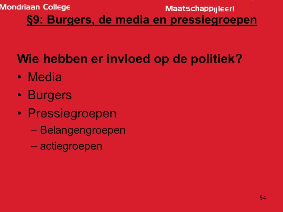 §9: Burgers, de media en pressiegroepen Wie hebben er invloed op de politiek.