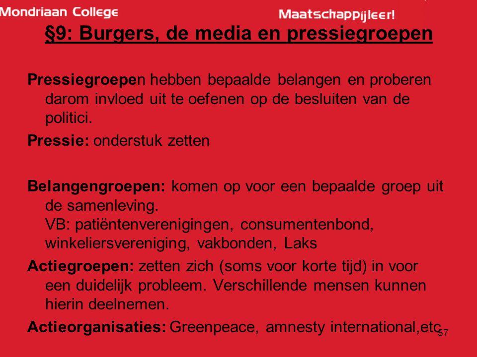 §9: Burgers, de media en pressiegroepen Pressiegroepen hebben bepaalde belangen en proberen darom invloed uit te oefenen op de besluiten van de politici.