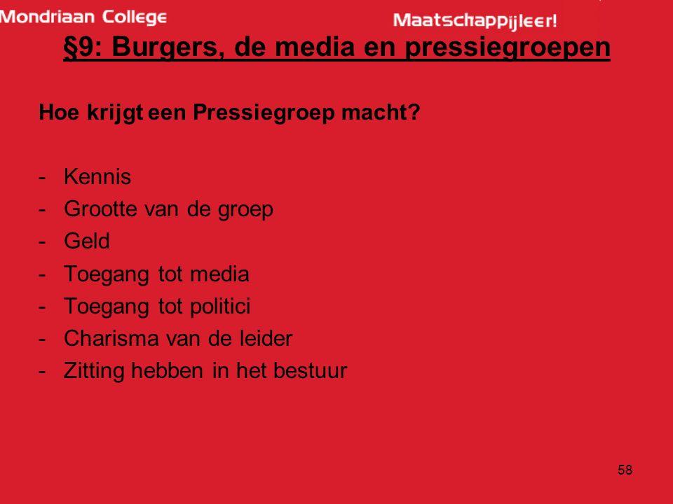 §9: Burgers, de media en pressiegroepen Hoe krijgt een Pressiegroep macht.