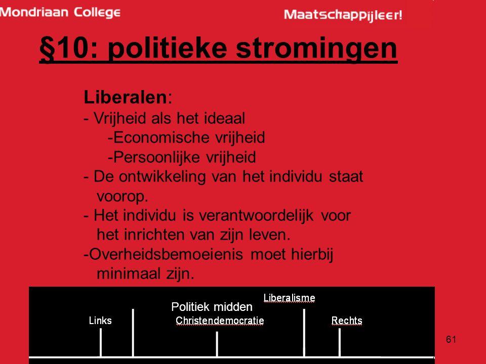 61 Liberalen: - Vrijheid als het ideaal -Economische vrijheid -Persoonlijke vrijheid - De ontwikkeling van het individu staat voorop.