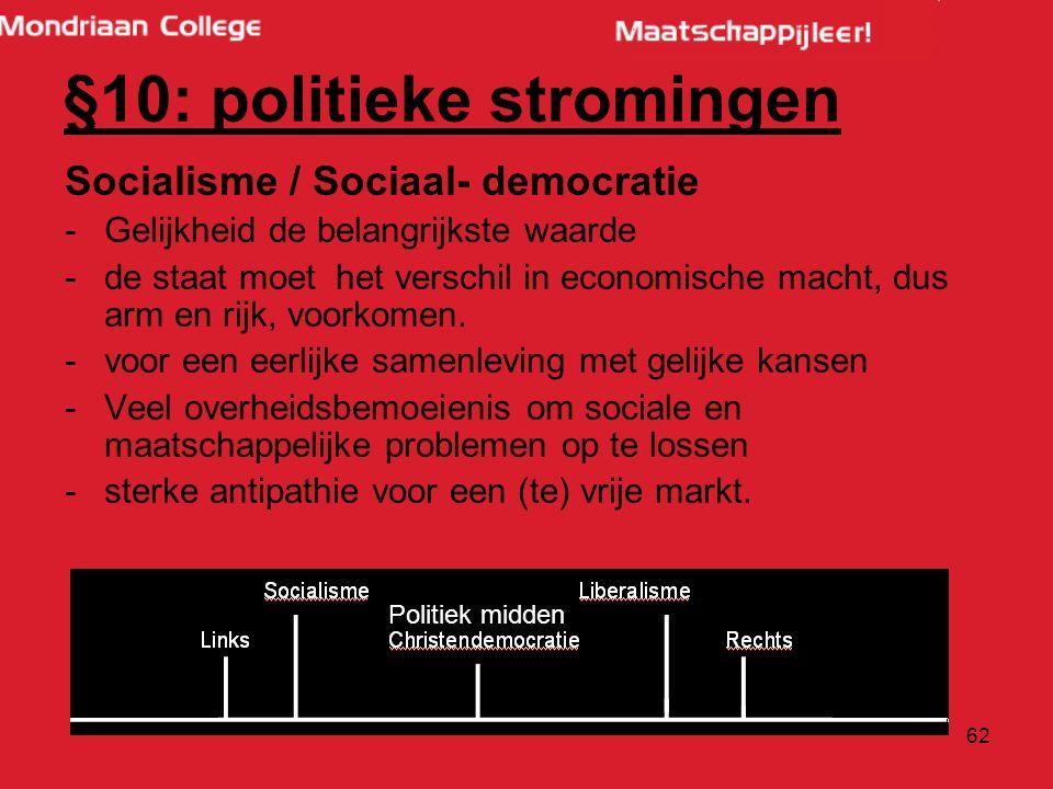 62 Socialisme / Sociaal- democratie -Gelijkheid de belangrijkste waarde -de staat moet het verschil in economische macht, dus arm en rijk, voorkomen.
