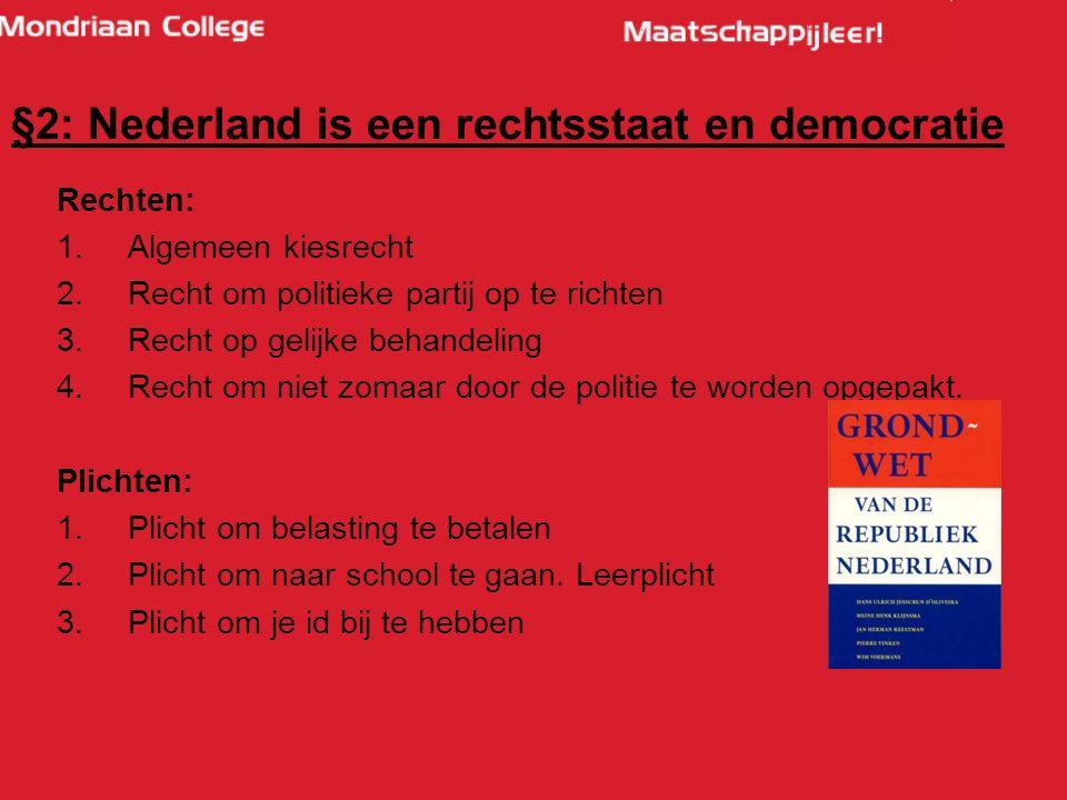 Rechten: 1.Algemeen kiesrecht 2.Recht om politieke partij op te richten 3.Recht op gelijke behandeling 4.Recht om niet zomaar door de politie te worden opgepakt.