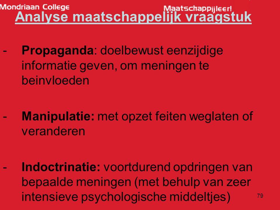 79 -Propaganda: doelbewust eenzijdige informatie geven, om meningen te beinvloeden -Manipulatie: met opzet feiten weglaten of veranderen -Indoctrinatie: voortdurend opdringen van bepaalde meningen (met behulp van zeer intensieve psychologische middeltjes) Analyse maatschappelijk vraagstuk