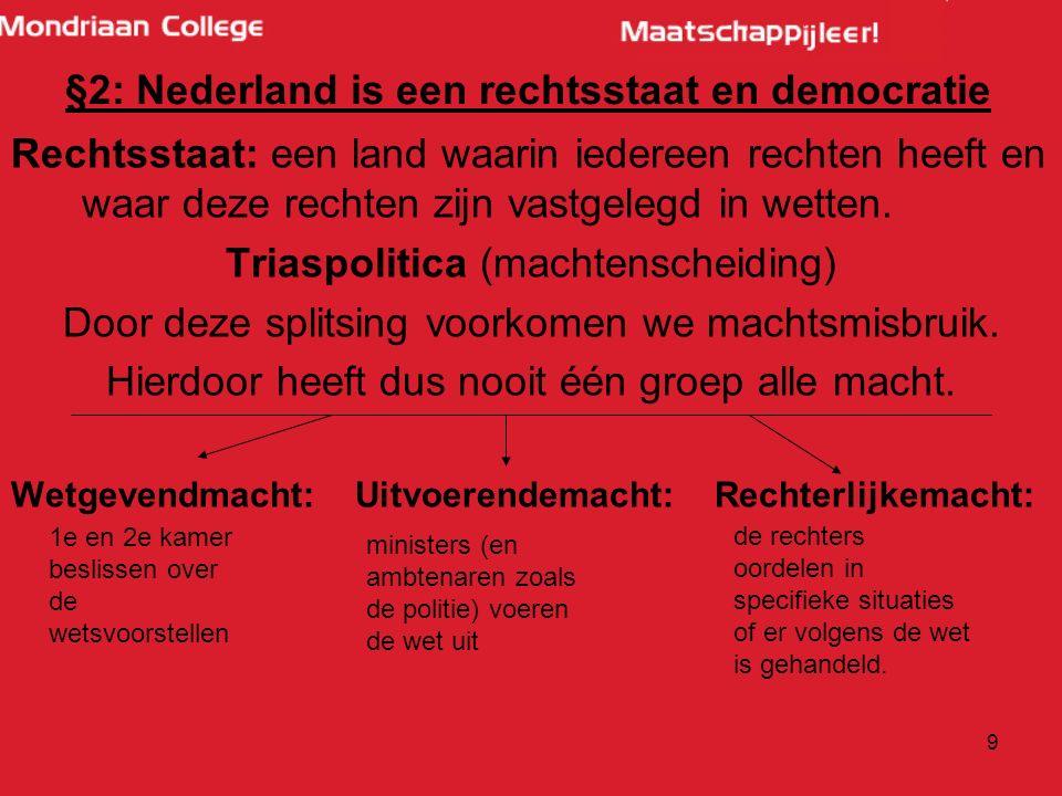10 §2: Nederland is een rechtsstaat en een democratie Eens per 4 jaar stemmen voor: -Tweede kamer -Provinciale Staten -Gemeenteraad Eens per 5 jaar stemmen voor: -Europees Parlement