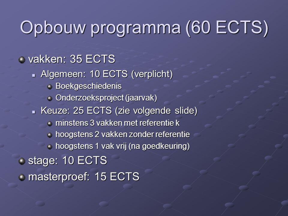Opbouw programma (60 ECTS) vakken: 35 ECTS Algemeen: 10 ECTS (verplicht) Algemeen: 10 ECTS (verplicht) Boekgeschiedenis Boekgeschiedenis Onderzoeksproject (jaarvak) Onderzoeksproject (jaarvak) Keuze: 25 ECTS (zie volgende slide) Keuze: 25 ECTS (zie volgende slide) minstens 3 vakken met referentie k minstens 3 vakken met referentie k hoogstens 2 vakken zonder referentie hoogstens 2 vakken zonder referentie hoogstens 1 vak vrij (na goedkeuring) hoogstens 1 vak vrij (na goedkeuring) stage: 10 ECTS masterproef: 15 ECTS