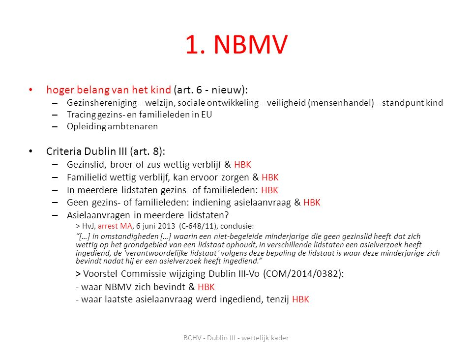 1.NBMV hoger belang van het kind (art.