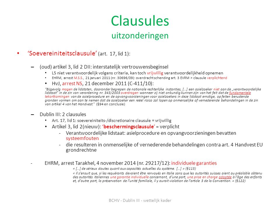 Clausules uitzonderingen 'Soevereiniteitsclausule' (art.