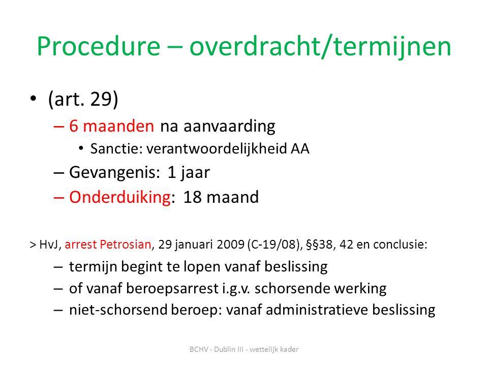 Procedure – overdracht/termijnen (art.