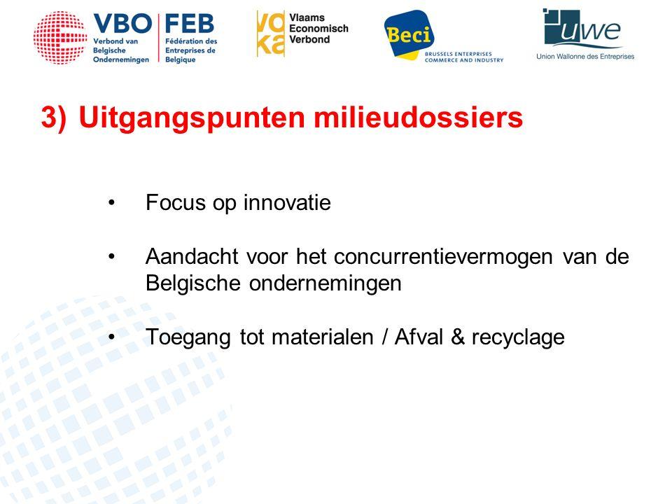 3)Uitgangspunten milieudossiers Focus op innovatie Aandacht voor het concurrentievermogen van de Belgische ondernemingen Toegang tot materialen / Afval & recyclage
