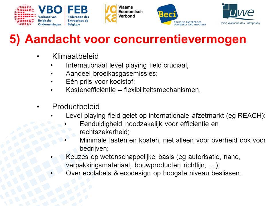 5)Aandacht voor concurrentievermogen Klimaatbeleid Internationaal level playing field cruciaal; Aandeel broeikasgasemissies; Één prijs voor koolstof; Kostenefficiëntie – flexibiliteitsmechanismen.