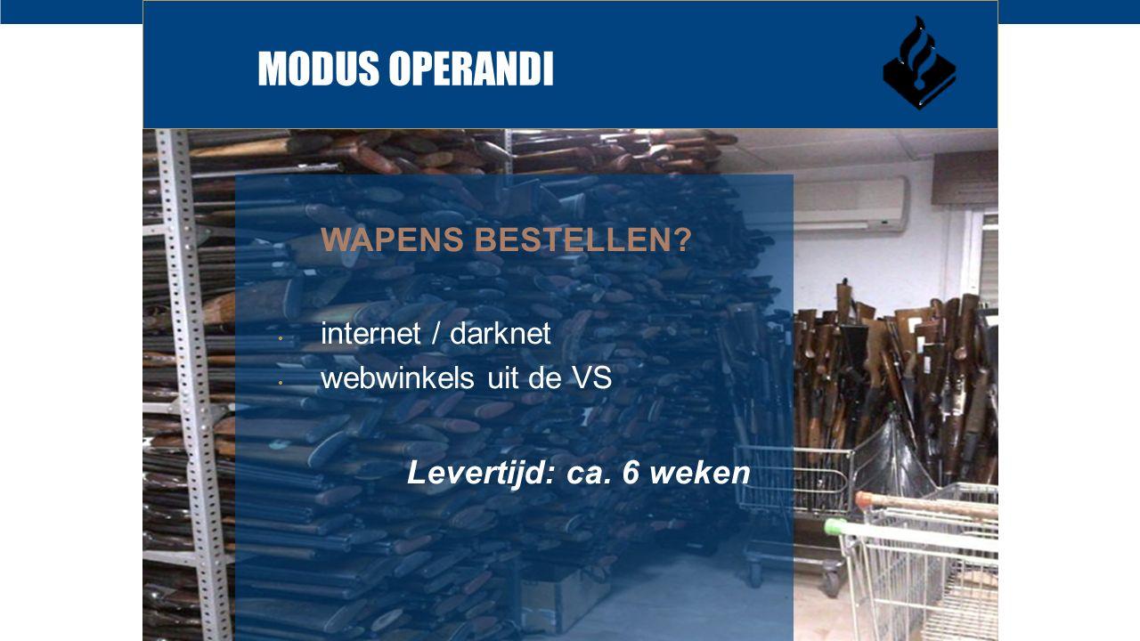 MODUS OPERANDI WAPENS BESTELLEN? internet / darknet webwinkels uit de VS Levertijd: ca. 6 weken