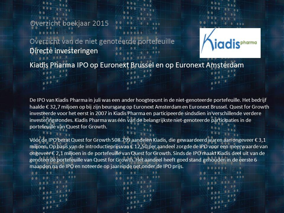 Overzicht boekjaar 2015 Overzicht van de niet genoteerde portefeuille Directe investeringen Kiadis Pharma IPO op Euronext Brussel en op Euronext Amsterdam De IPO van Kiadis Pharma in juli was een ander hoogtepunt in de niet-genoteerde portefeuille.