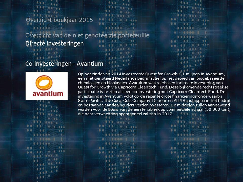 Overzicht boekjaar 2015 Overzicht van de niet genoteerde portefeuille Directe investeringen Co-investeringen - Avantium Op het einde van 2014 investeerde Quest for Growth € 1 miljoen in Avantium, een niet genoteerd Nederlands bedrijf actief op het gebied van biogebaseerde chemicaliën en bioplastics.