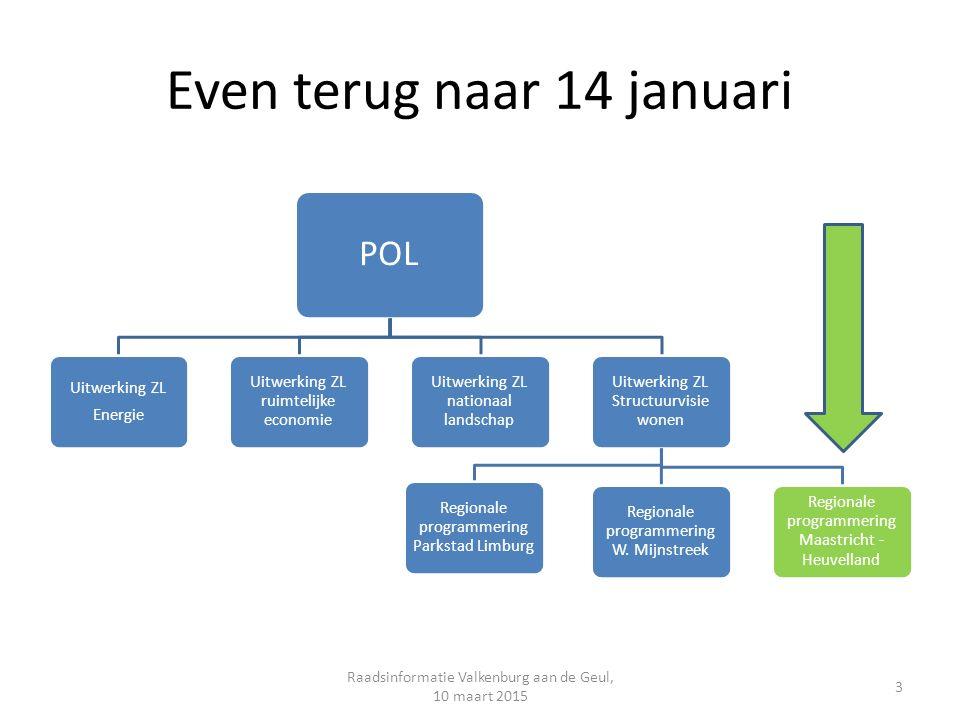 Even terug naar 14 januari POL Uitwerking ZL Energie Uitwerking ZL ruimtelijke economie Uitwerking ZL nationaal landschap Uitwerking ZL Structuurvisie wonen Regionale programmering Parkstad Limburg Regionale programmering W.