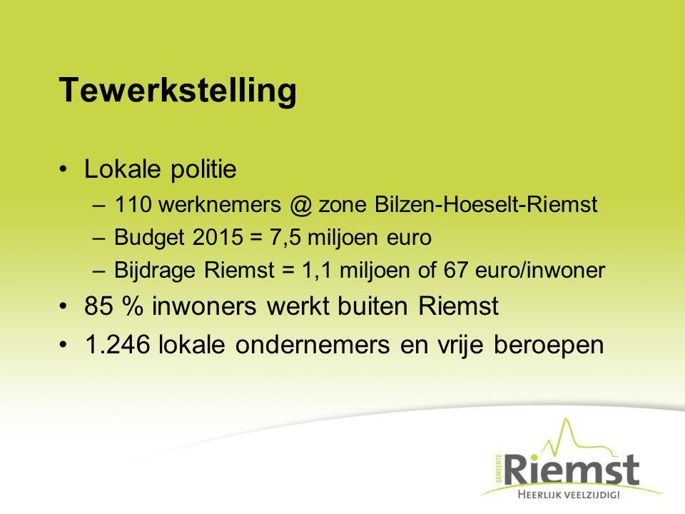 Tewerkstelling Lokale politie –110 werknemers @ zone Bilzen-Hoeselt-Riemst –Budget 2015 = 7,5 miljoen euro –Bijdrage Riemst = 1,1 miljoen of 67 euro/i