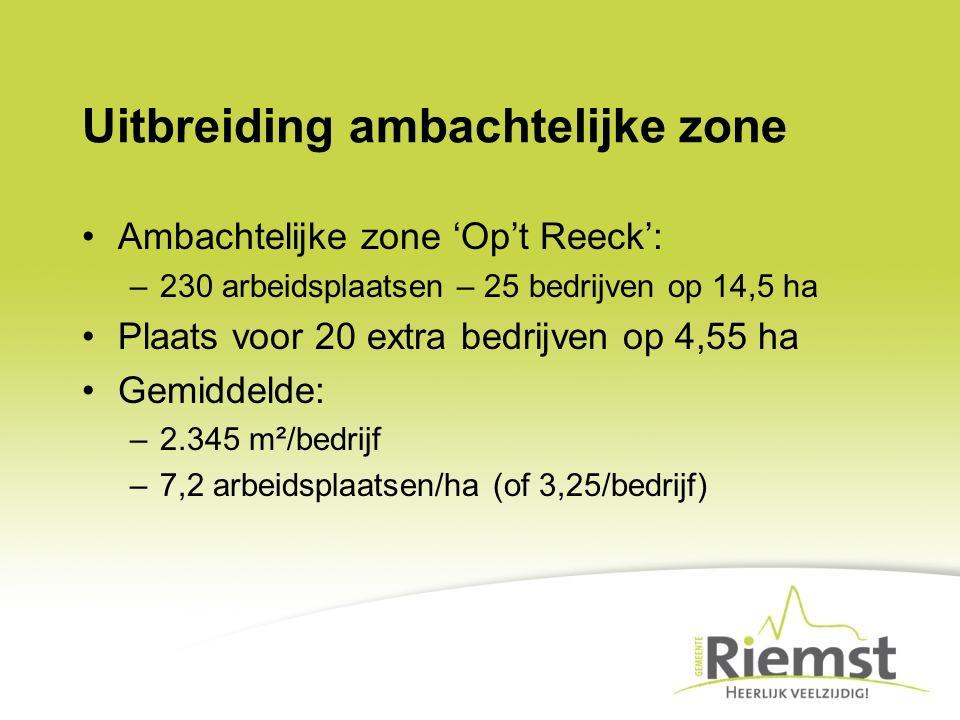 Uitbreiding ambachtelijke zone Ambachtelijke zone 'Op't Reeck': –230 arbeidsplaatsen – 25 bedrijven op 14,5 ha Plaats voor 20 extra bedrijven op 4,55