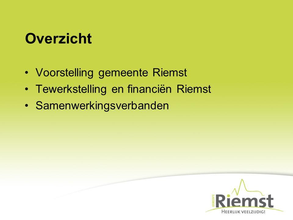 Overzicht Voorstelling gemeente Riemst Tewerkstelling en financiën Riemst Samenwerkingsverbanden