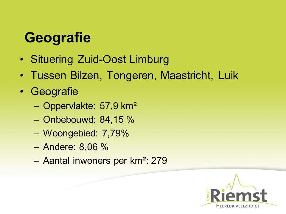 Geografie Situering Zuid-Oost Limburg Tussen Bilzen, Tongeren, Maastricht, Luik Geografie –Oppervlakte: 57,9 km² –Onbebouwd: 84,15 % –Woongebied: 7,79