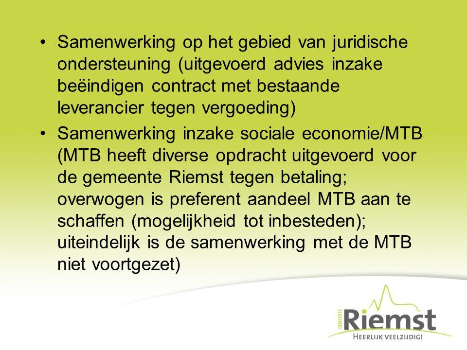 Samenwerking op het gebied van juridische ondersteuning (uitgevoerd advies inzake beëindigen contract met bestaande leverancier tegen vergoeding) Same