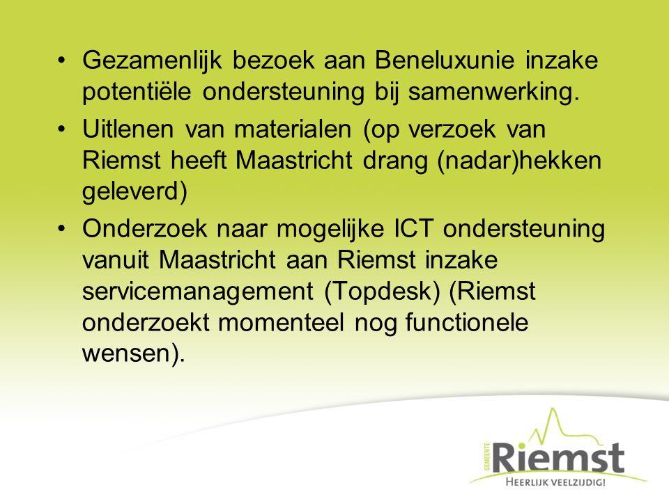 Gezamenlijk bezoek aan Beneluxunie inzake potentiële ondersteuning bij samenwerking. Uitlenen van materialen (op verzoek van Riemst heeft Maastricht d