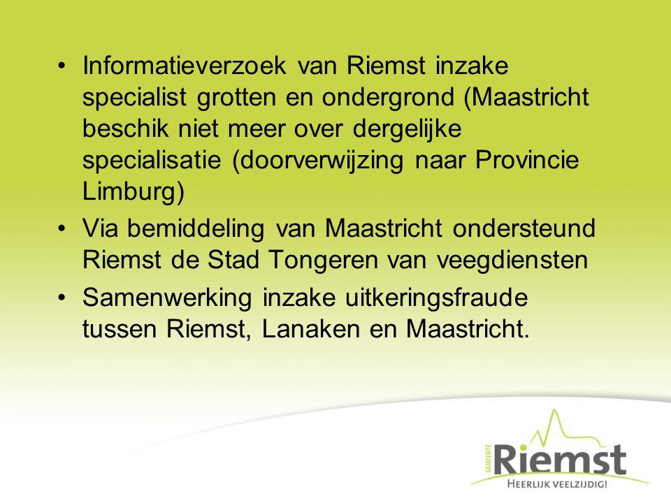 Informatieverzoek van Riemst inzake specialist grotten en ondergrond (Maastricht beschik niet meer over dergelijke specialisatie (doorverwijzing naar